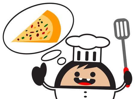 preparing food: illustration of cartoon chef