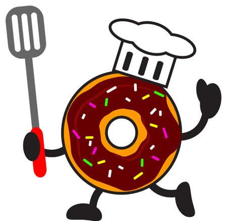 illustration of cartoon donuts chef