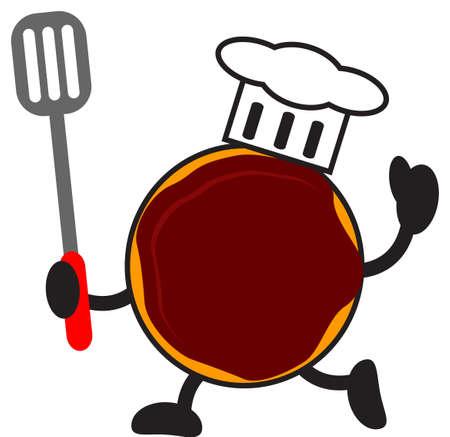 illustration of cartoon donuts chef Vector