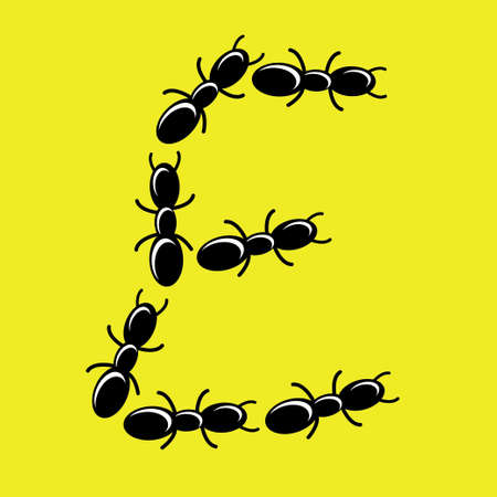 illustration of font type created with group of ant Vector