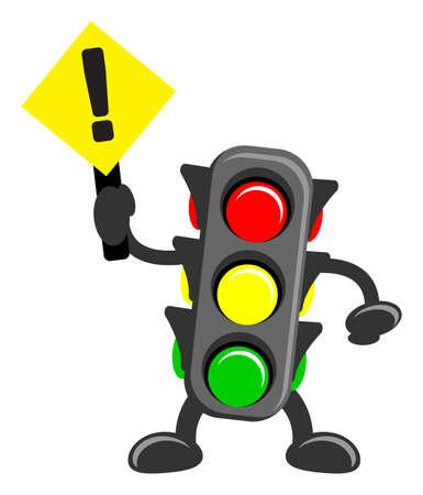 señal de transito: la ilustración de dibujos animados de la luz del tráfico Vectores