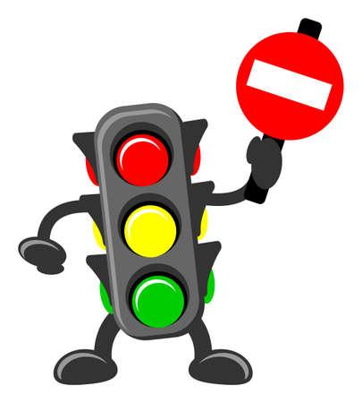 señales de transito: la ilustración de dibujos animados de la luz del tráfico Vectores