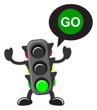 light green: illustration of cartoon traffic light