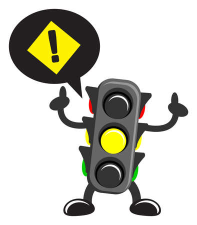rules of the road: illustration of cartoon traffic light