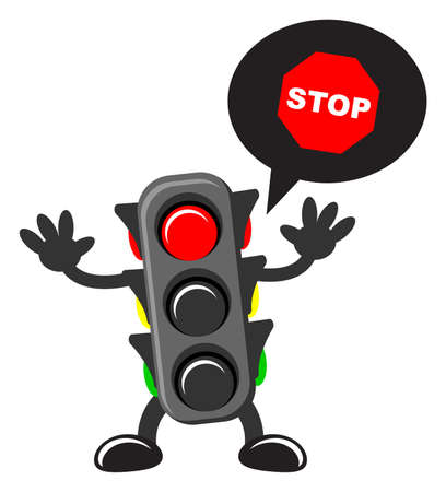 wrong way: illustration of cartoon traffic light