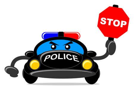road closed: illustration of cartoon police car