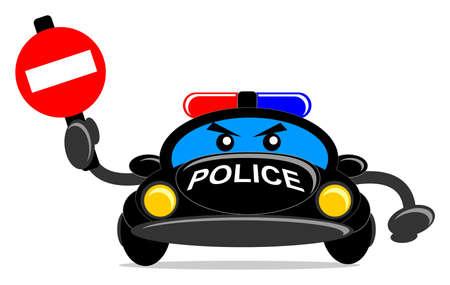 traffic control: ilustraci�n de coche de dibujos animados de polic�a Vectores