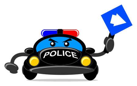 illustration of cartoon police car Vector