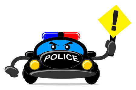 open road: illustration of cartoon police car
