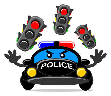 way to go: illustration of cartoon police car