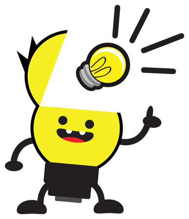 innovator: cartoon bulb lamp character