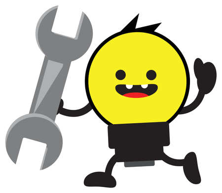 power wrench: cartoon bulb lamp character