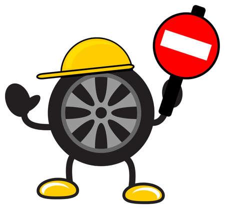 illustration of cartoon tire Vector