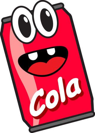 lata de refresco: personaje de dibujos animados Vectores
