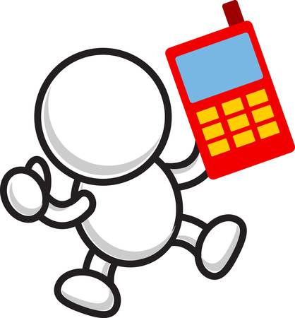 illustration of cartoon businessman with smartphone Vector