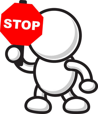 do not enter sign: illustration of cartoon character with traffic sign