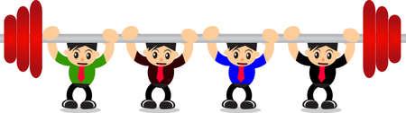 teamwork cartoon: cartoon businessman teamwork Illustration