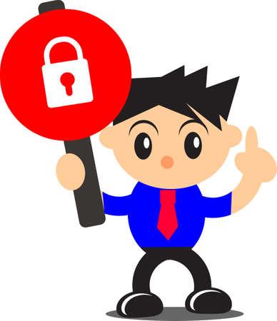 do not enter sign: illustration of businessman activity