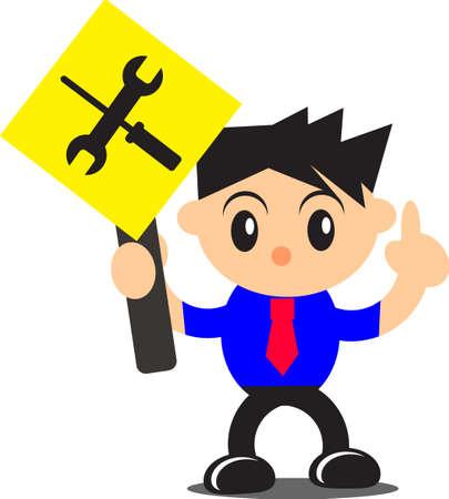 do not enter warning sign: illustration of businessman activity