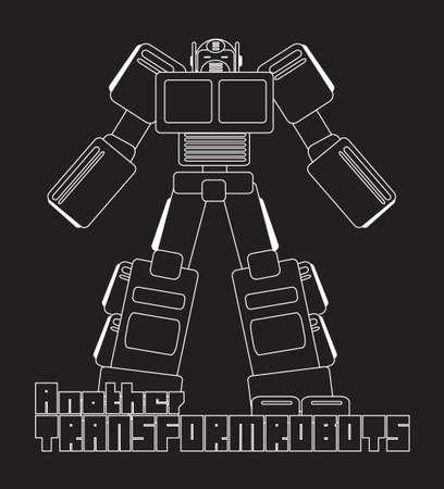 mech: graphic of cool cartoon robot  robotic character Illustration