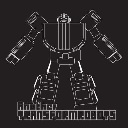 mecha: vector graphic of cool cartoon robot  robotic character