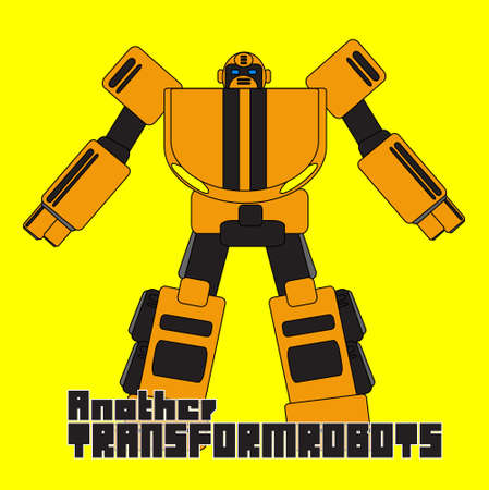 graphic of cool cartoon robot  robotic character Vector