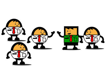 innovator: illustration graphic cartoon character of unique  different  businessman