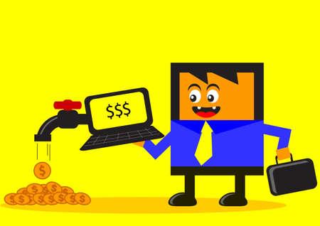 illustration of cartoon character online businessman success earning his money  Illustration