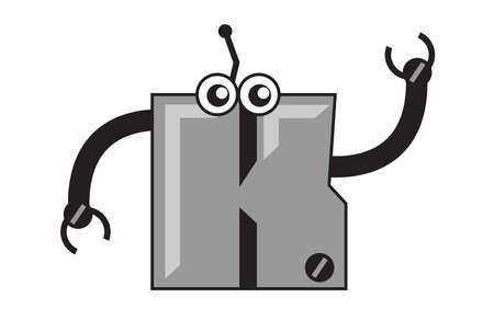 say hello: illustration graphic  clip art  robotic cartoon character font type  typography  of alphabet Illustration