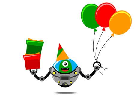 illustration graphic cartoon character alien robot says happy birthday