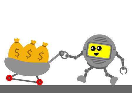 passive earnings: robotic cartoon character with business activity