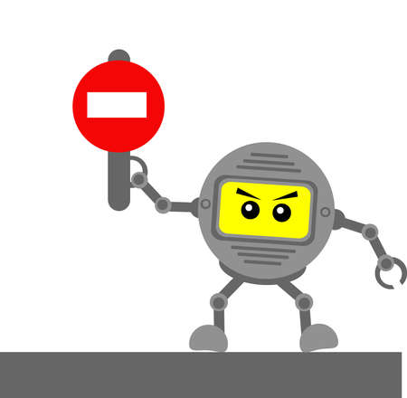 robotic cartoon character with traffic sign Vector