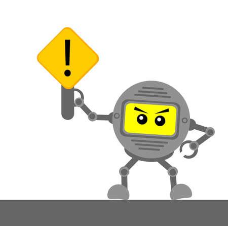 Illustration Cartoon-Figur mit Verkehrszeichen Standard-Bild - 21072653