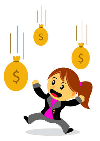 passive earnings: illustration of businesswoman cartoon character with her activity Illustration