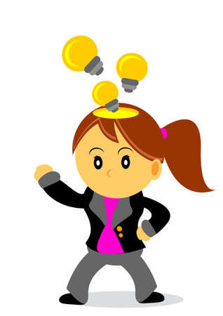 innovator: illustration of businesswoman cartoon character with her activity Illustration