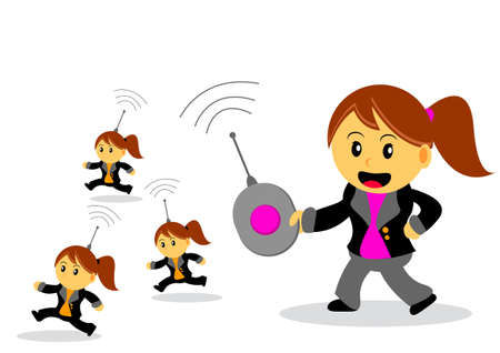 woman handle success: illustration of businesswoman cartoon character with her activity Illustration