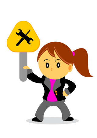 illustration of businesswoman cartoon character with her activity Vector