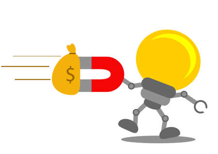 bombillo ahorrador: ilustración vectorial carácter gráfico de la historieta de la idea de negocio