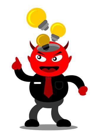 innovator: illustration vector graphic cartoon character of devil businessman Illustration