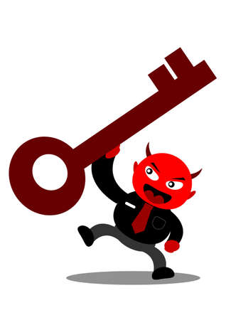 illustration vector graphic cartoon character of devil businessman Stock Vector - 21309037