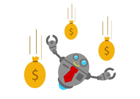 illustration vector graphic robotic cartoon character with business activity Vector