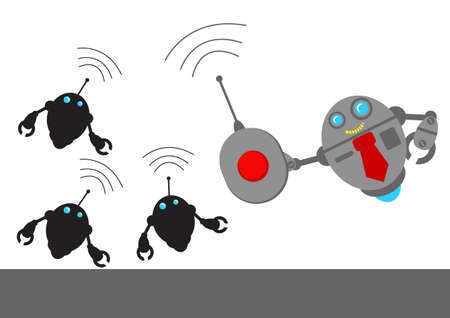 bossy: illustration vector graphic robotic cartoon character with business activity