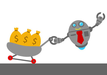 passive earnings: illustration vector graphic robotic cartoon character with business activity