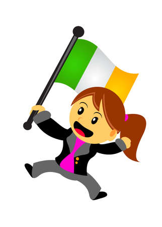irish pride: illustration vector graphic of businesswoman with flag Illustration