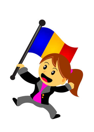 rumania: illustration vector graphic of businesswoman with flag Illustration