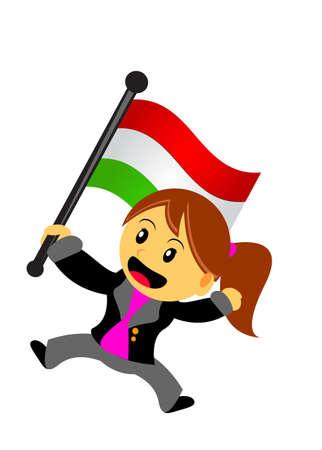 ilustración vectorial gráfico de la empresaria con la bandera