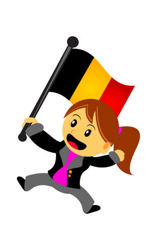 illustration vector graphic of businesswoman with flag Illustration