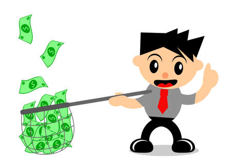 passive earnings: illustration vector graphic of cartoon character businessman in activity