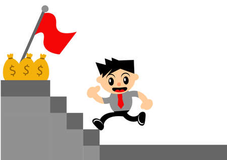 illustration vector graphic of cartoon character businessman in activity Vector