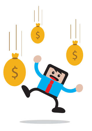 passive earnings: illustration vector graphic of businessman cartoon character in activity